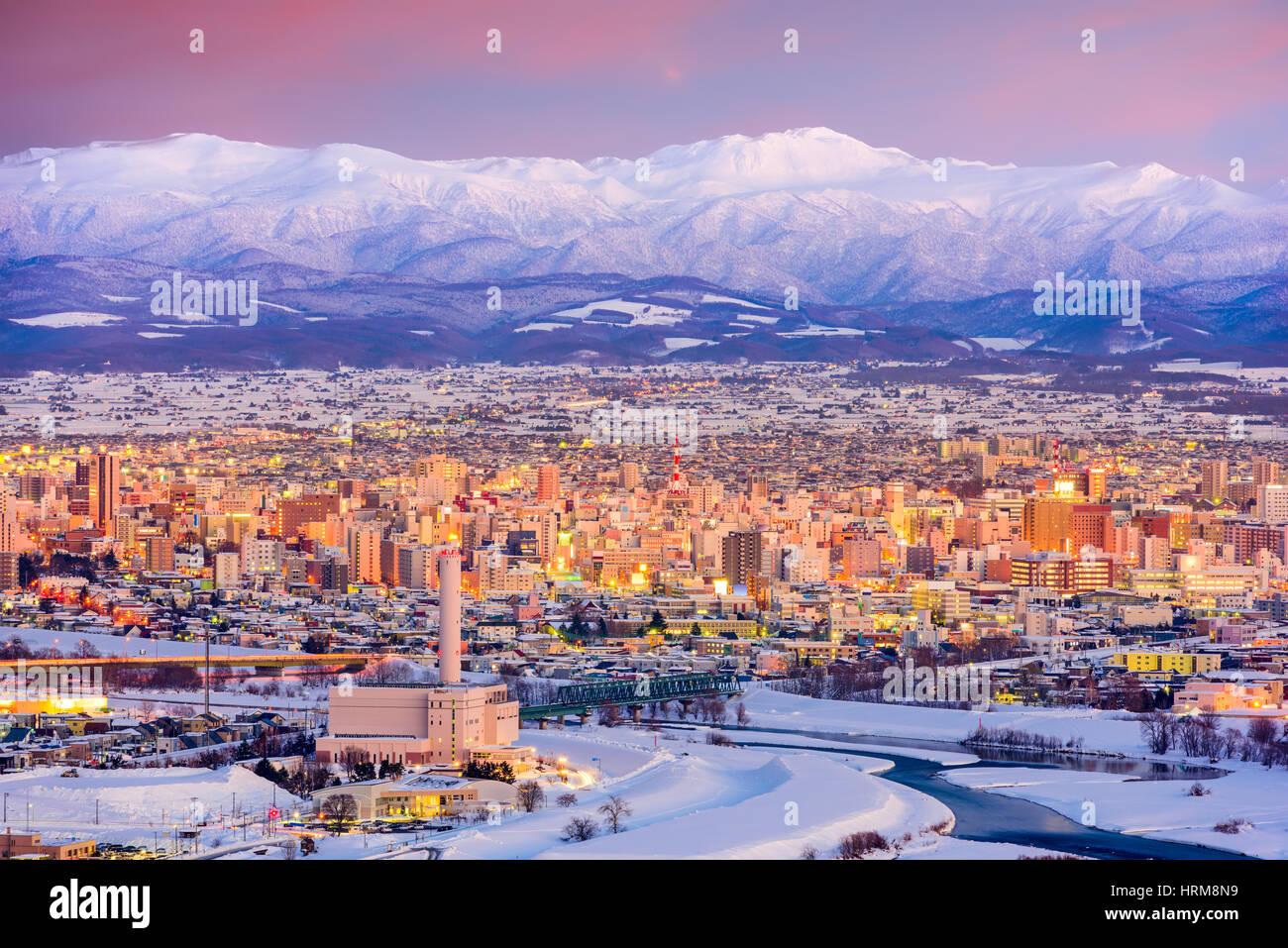 Asahikawa, Hokkaido au Japon dans la ville d'hiver. Photo Stock
