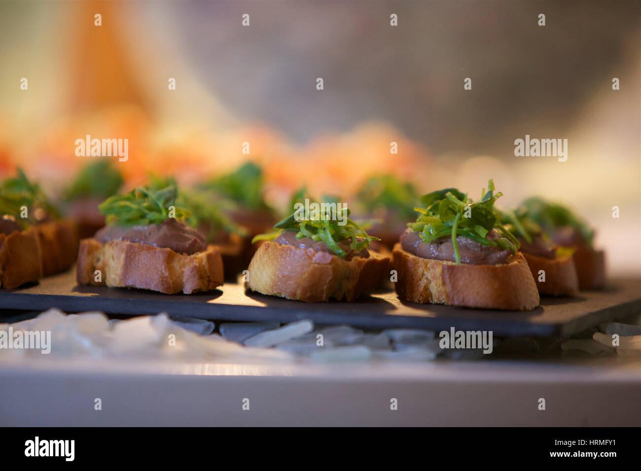 Des canapés lors d'un dîner Photo Stock