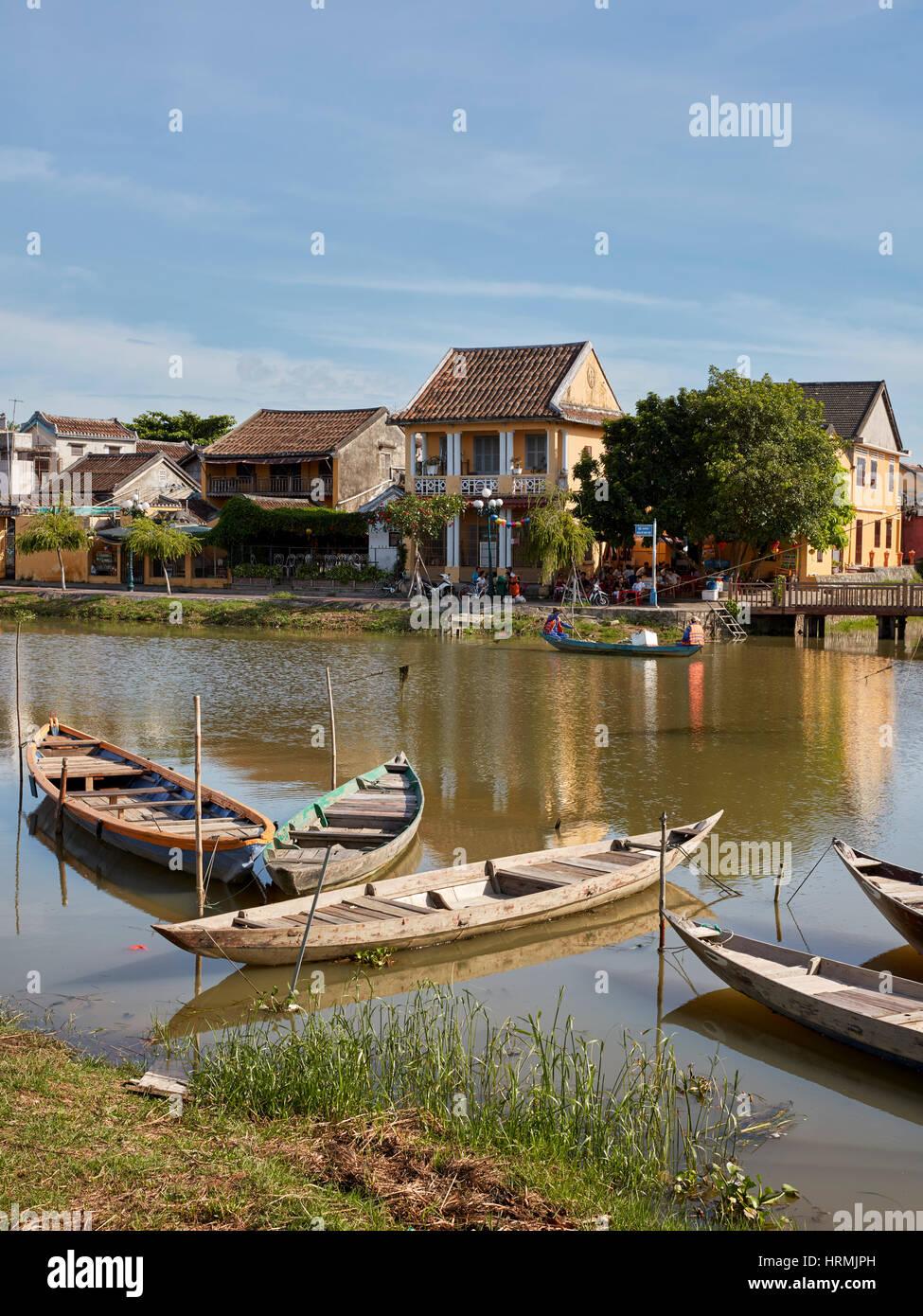 Vue sur la rivière Thu Bon. Hoi An, Quang Nam Province, Vietnam. Photo Stock
