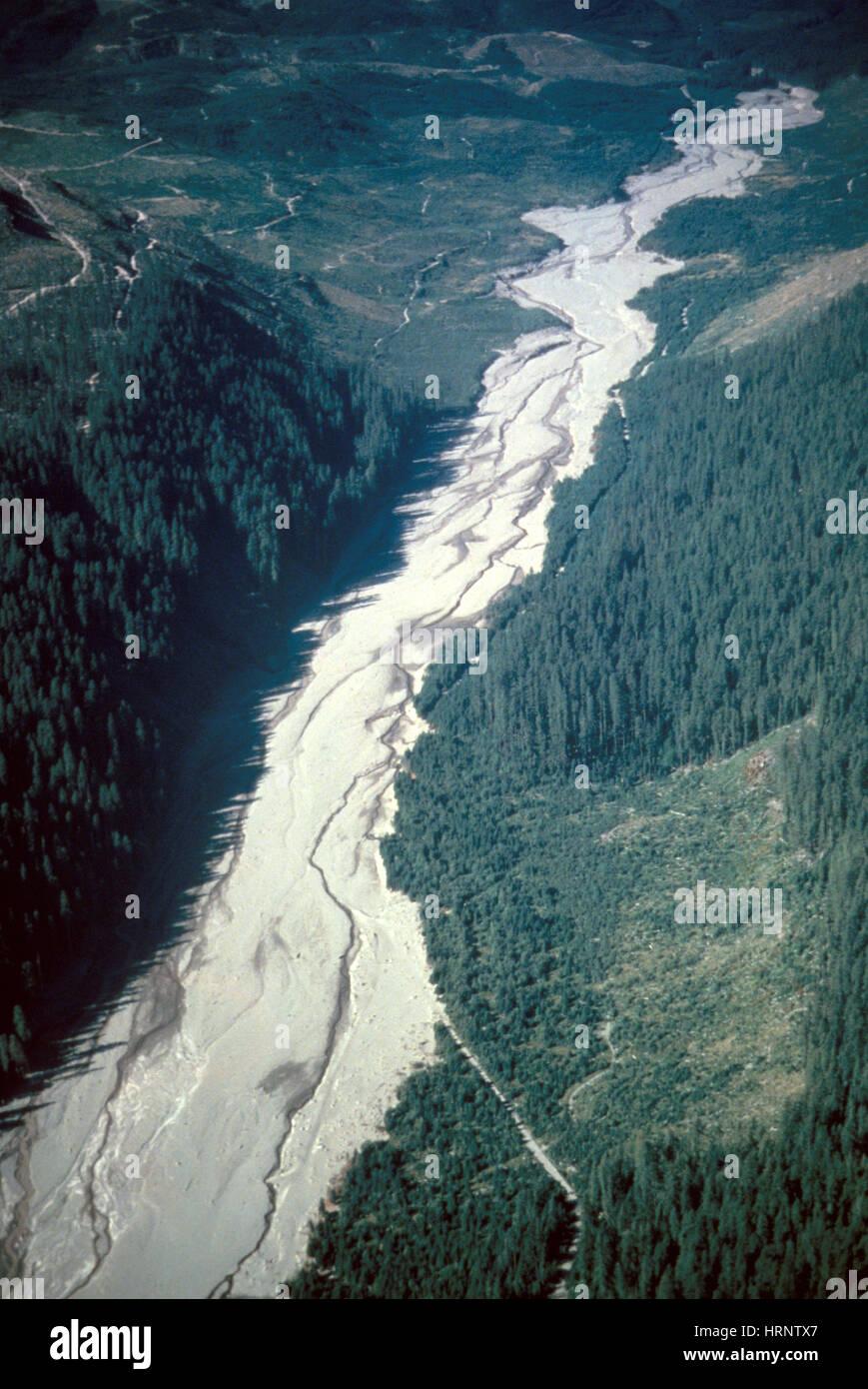 Éruption du mont Saint Helens, 1980 Photo Stock