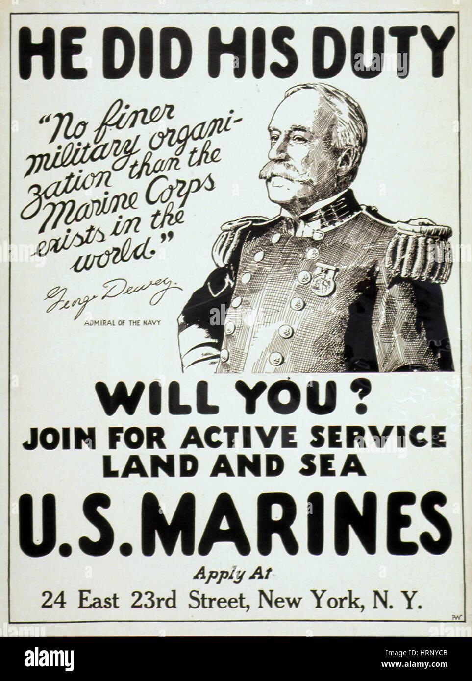 La PREMIÈRE GUERRE MONDIALE, affiche de recrutement Marine Photo Stock