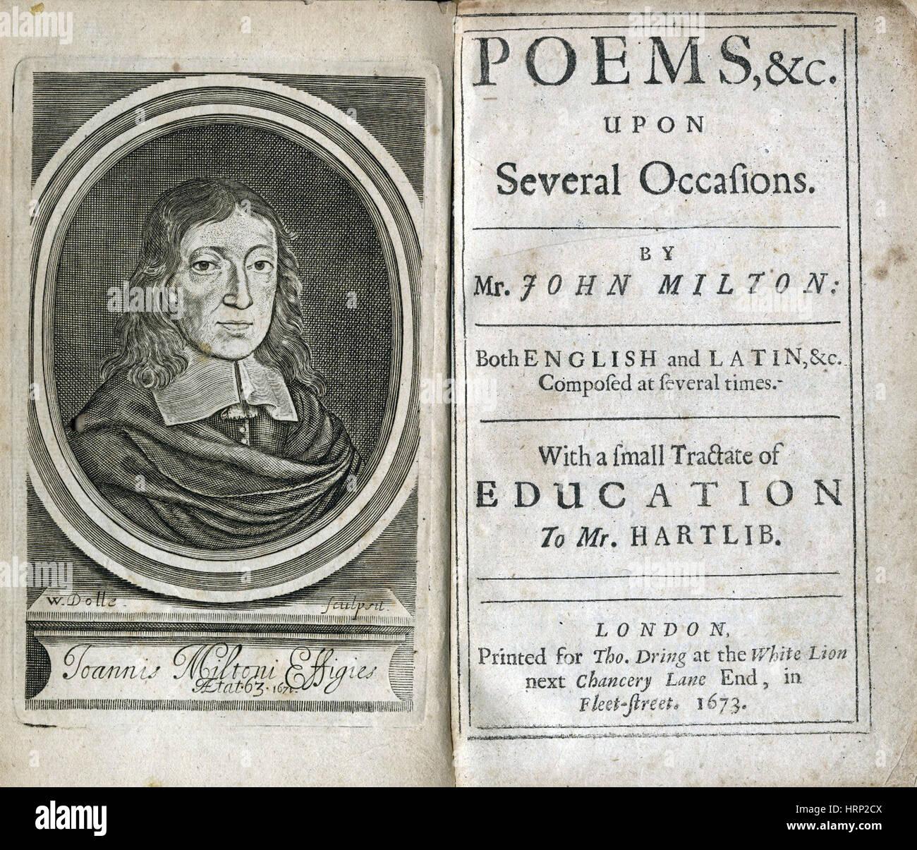 Milton's 'Poèmes', Page de titre, 1673 Banque D'Images