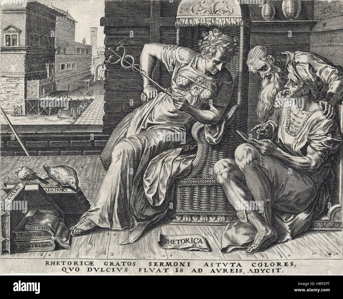 Personnification de la rhétorique, 16e siècle Photo Stock