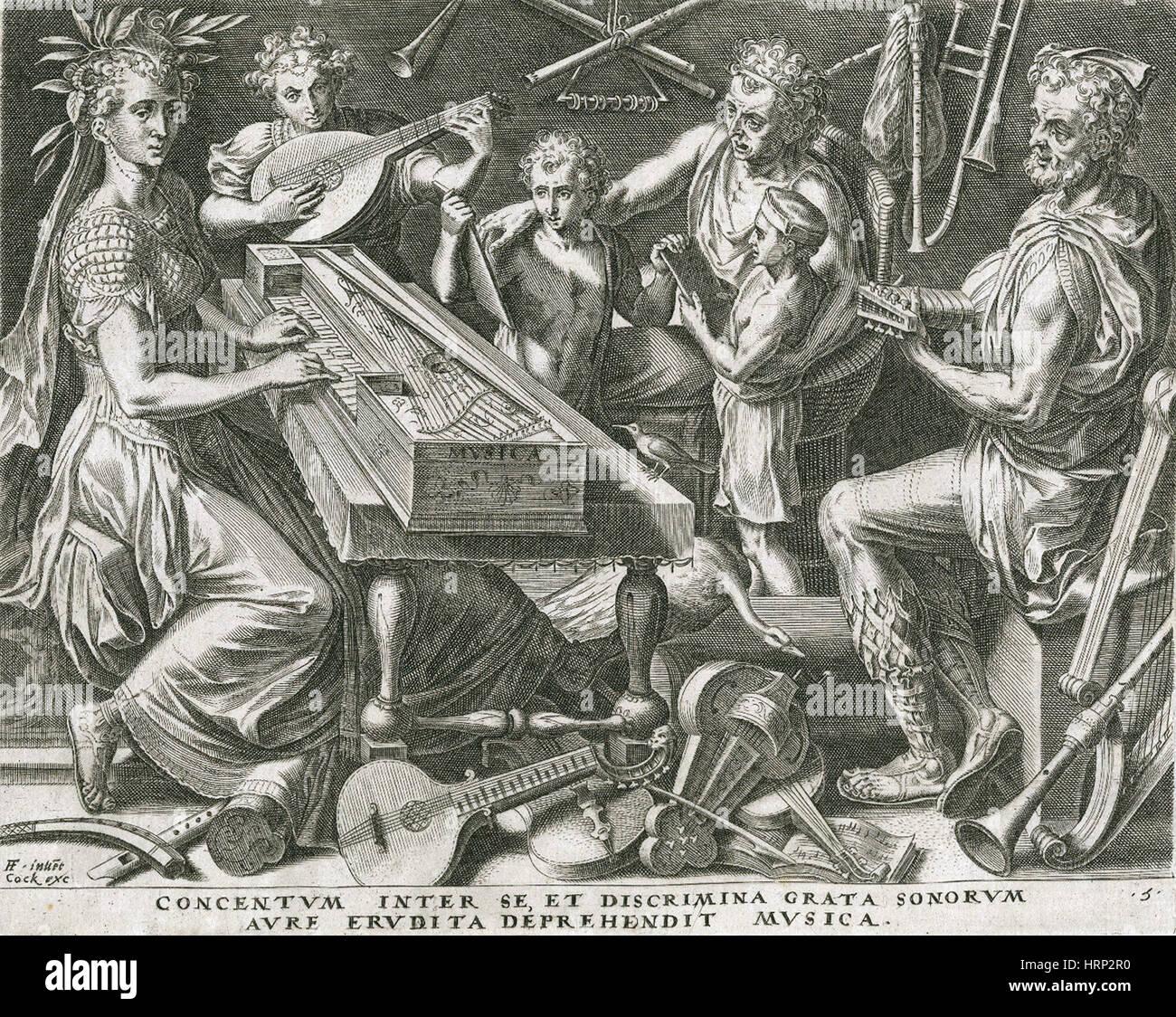 Personnification de la musique, 1565 Photo Stock