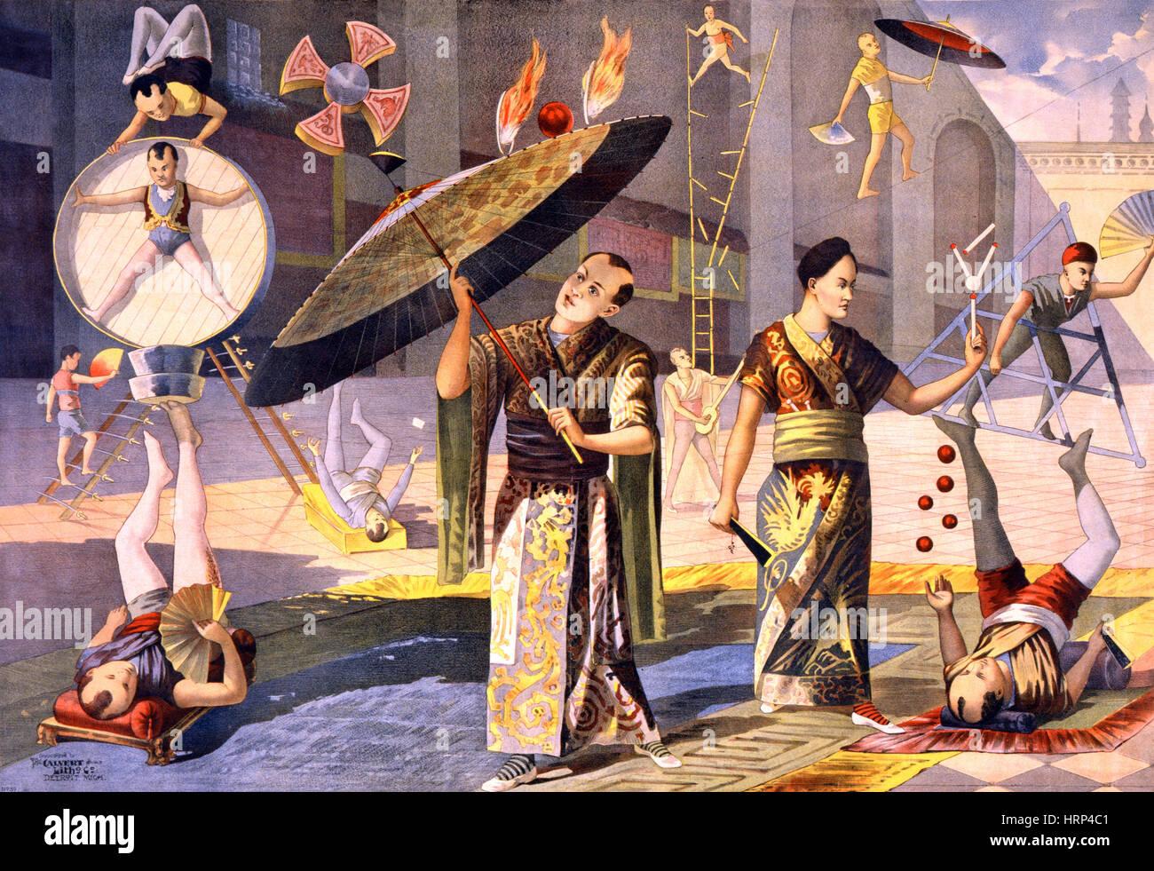 Douze acrobates asiatiques, 1891 Photo Stock