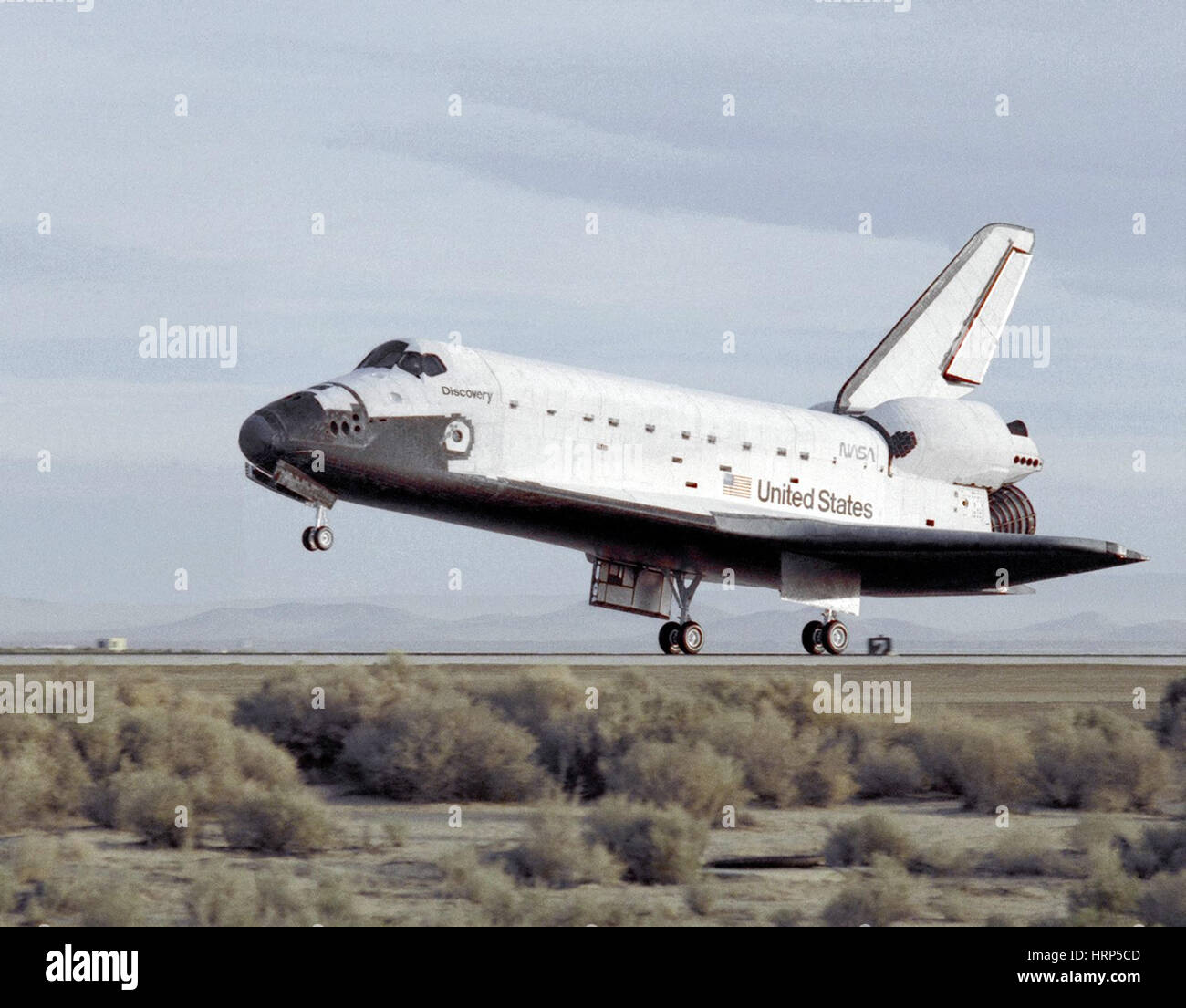 STS-29, l'atterrissage de la navette Discovery, 1989 Photo Stock