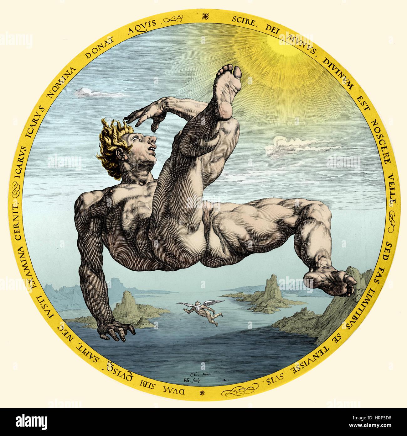 Chute d'Icare, la mythologie grecque Photo Stock