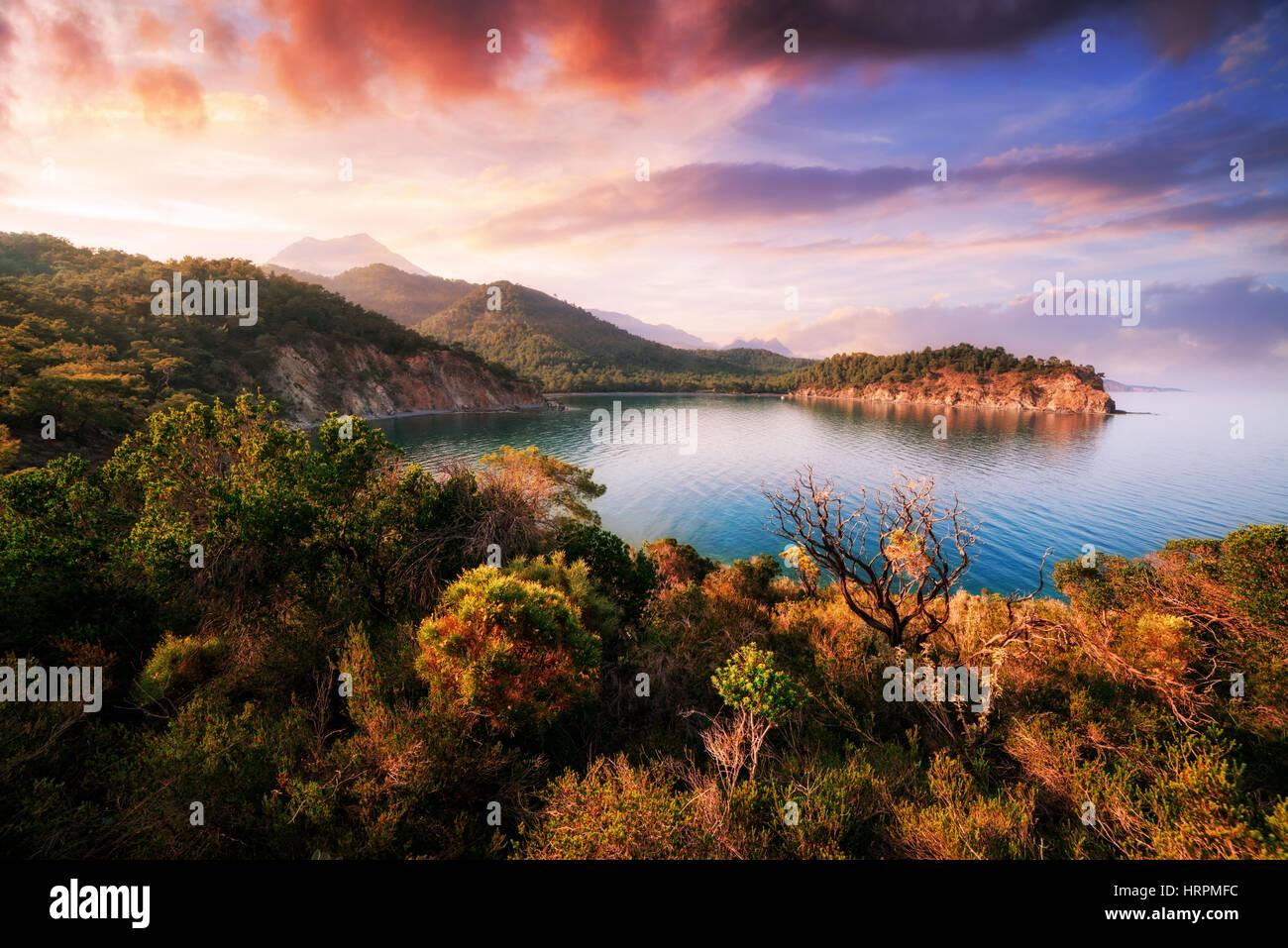 Seascape Méditerranée incroyable en Turquie Photo Stock