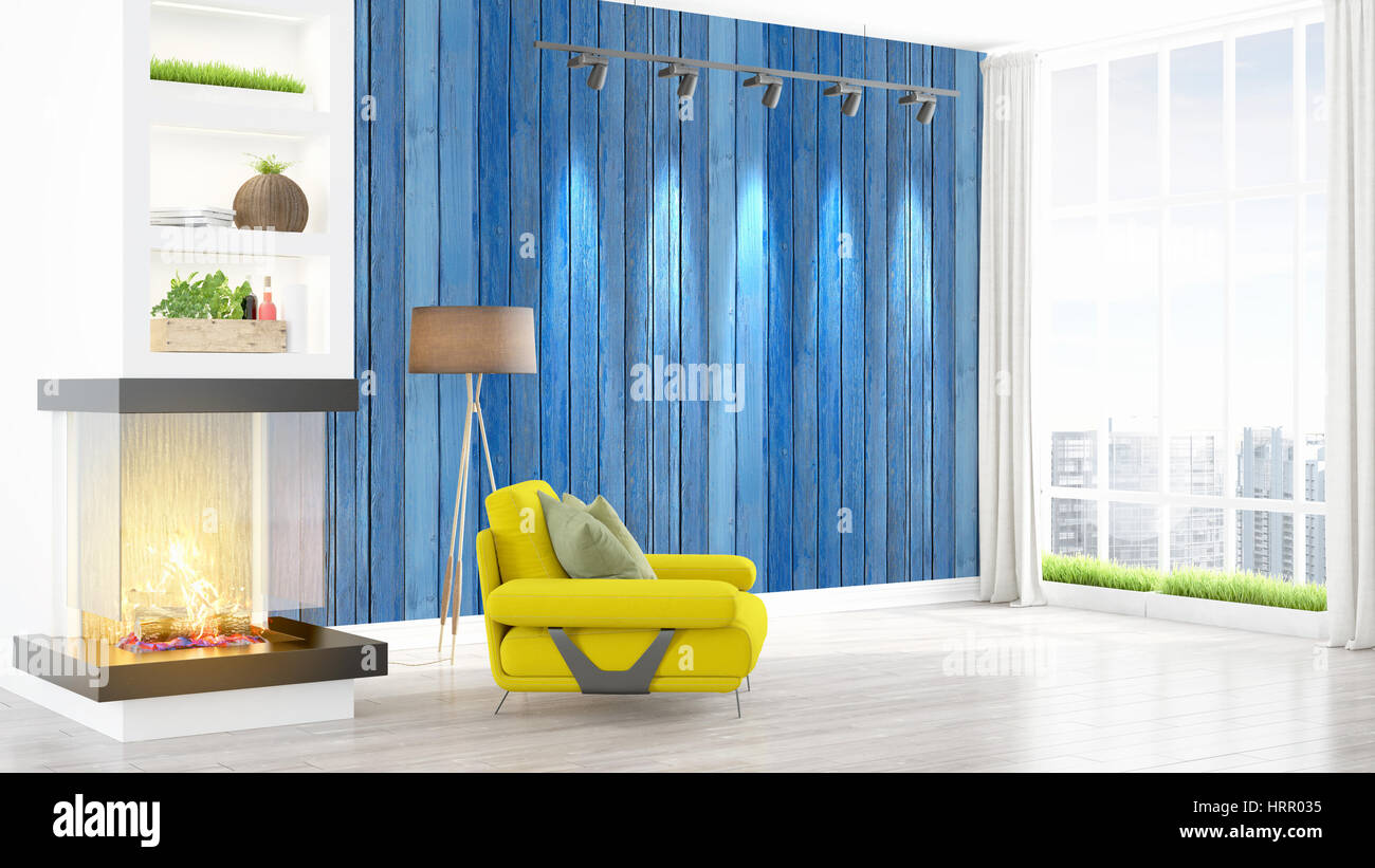 Beau Salon Moderne Interieur Avec Cheminee Le Rendu 3d Photo Stock Alamy