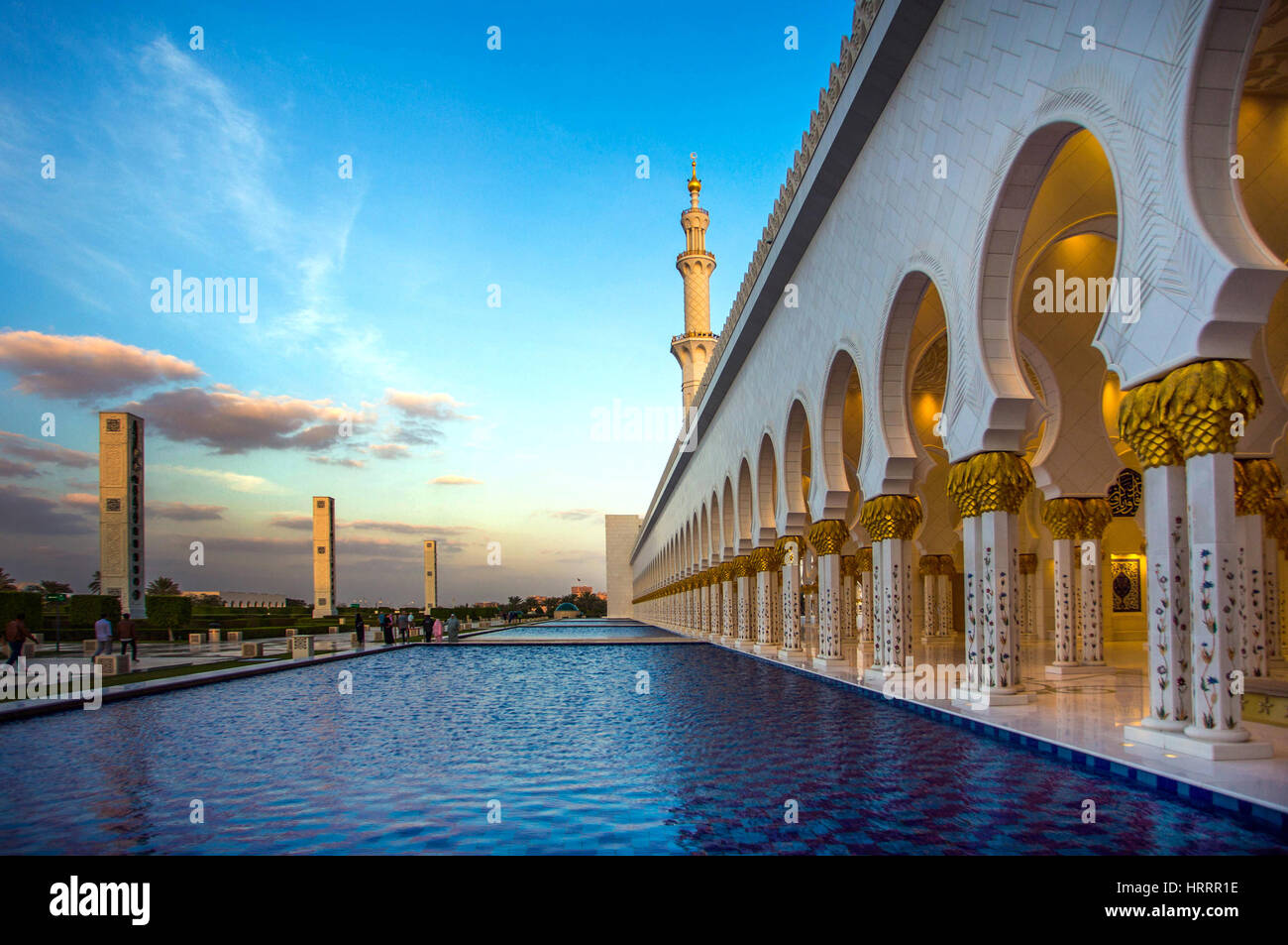 Grande Mosquée de Sheikh Zayed à Abu Dhabi, Emirats Arabes Unis. Photo Stock