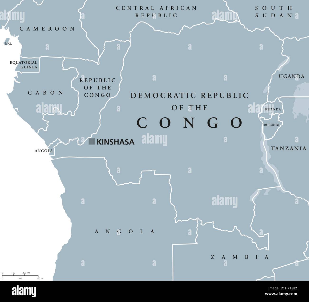 Carte Politique De Lafrique Centrale.Republique Democratique Du Congo Carte Politique Avec