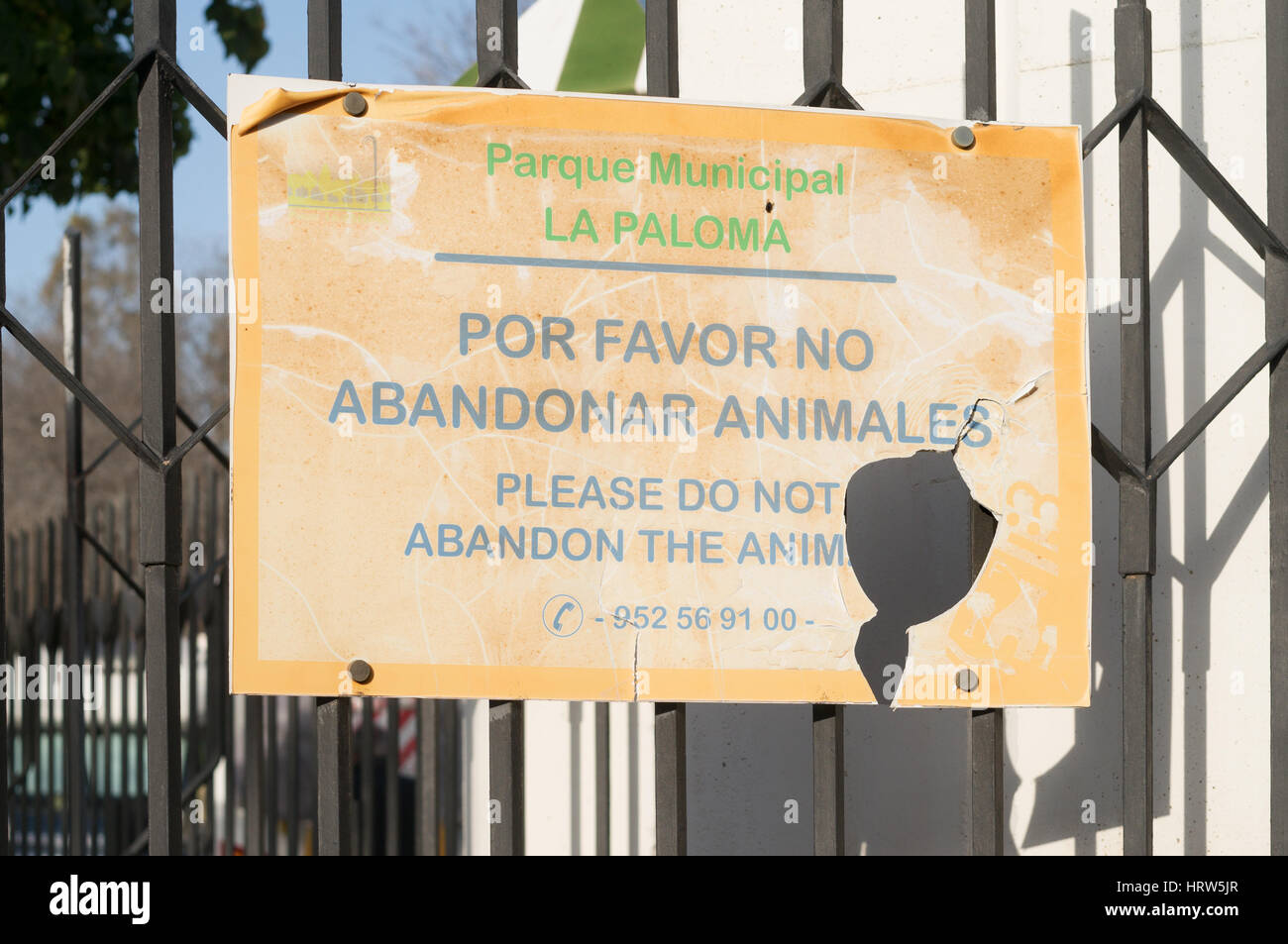 Signer, ne pas abandonner les animaux, Parque Municipal La Paloma, Benalmadena, Espagne Photo Stock