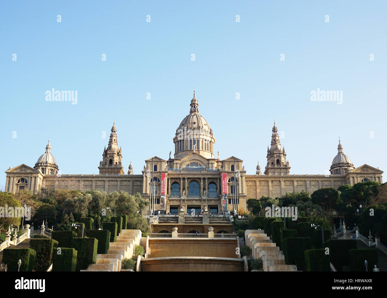 Barcelone, Espagne - 29 févr., 2016: Palau Nacional (Palais National) abrite aujourd'hui le Museu Photo Stock