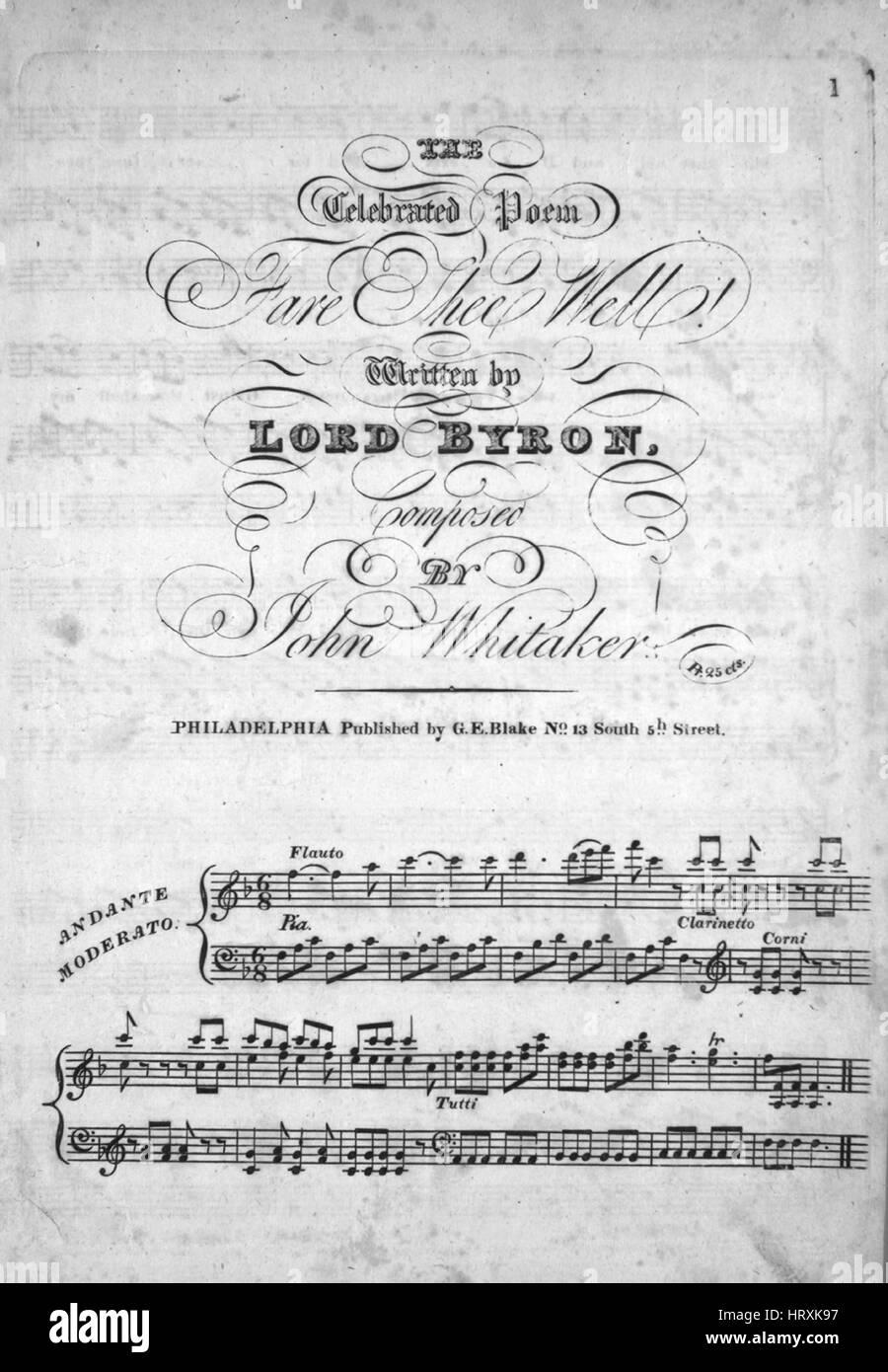 Sheet Music Image De Couverture De La Chanson Le Célèbre