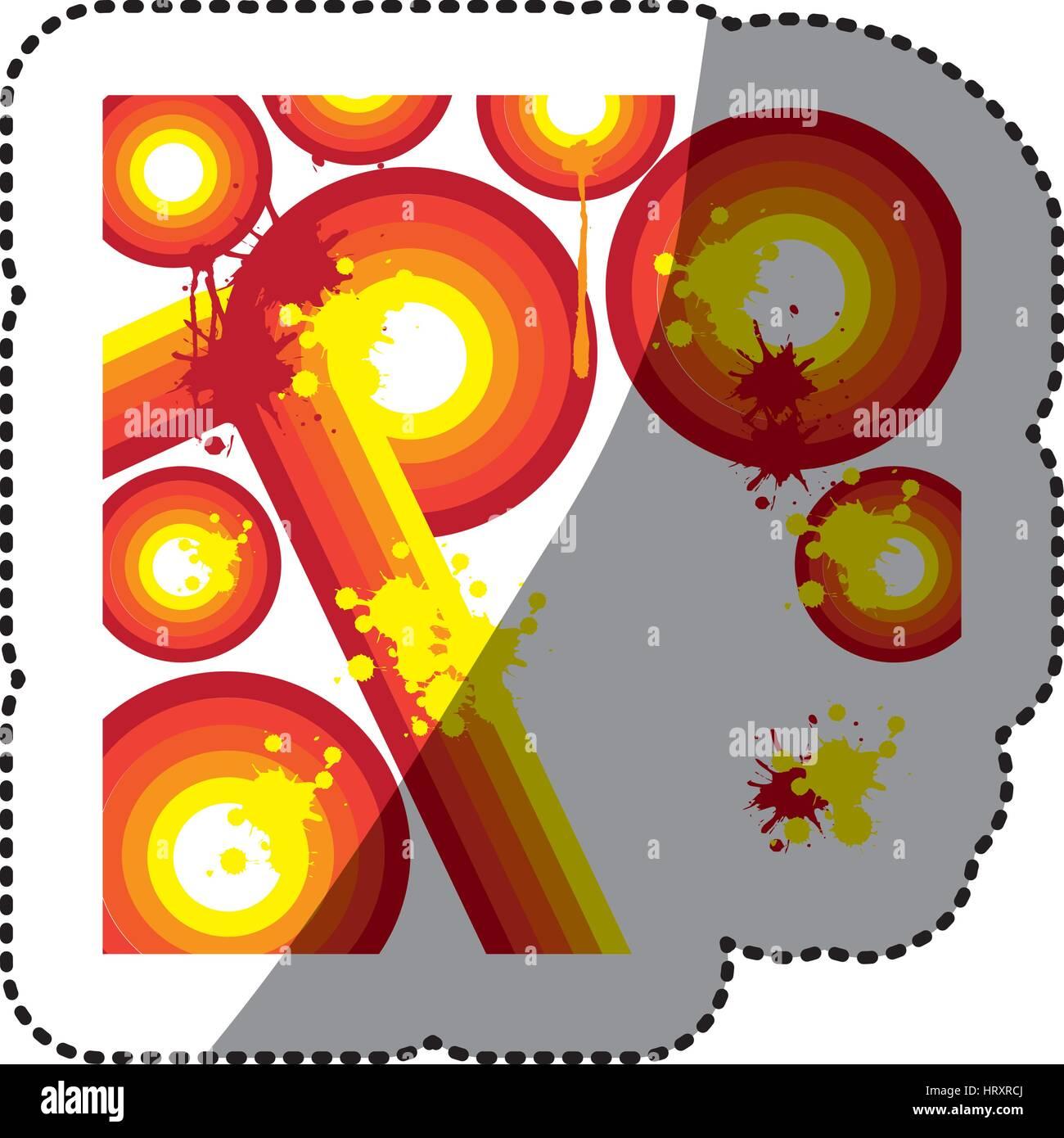Orange autocollant rétro abstrait Lignes et cercles avec splash color Photo Stock