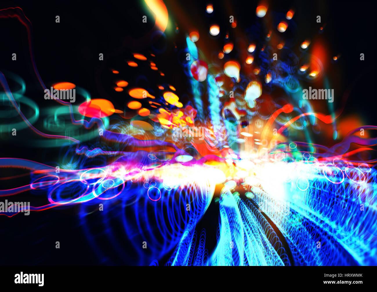 Résumé de la science et de la technologie conecpt,peinture fractale coloré et des éléments Photo Stock
