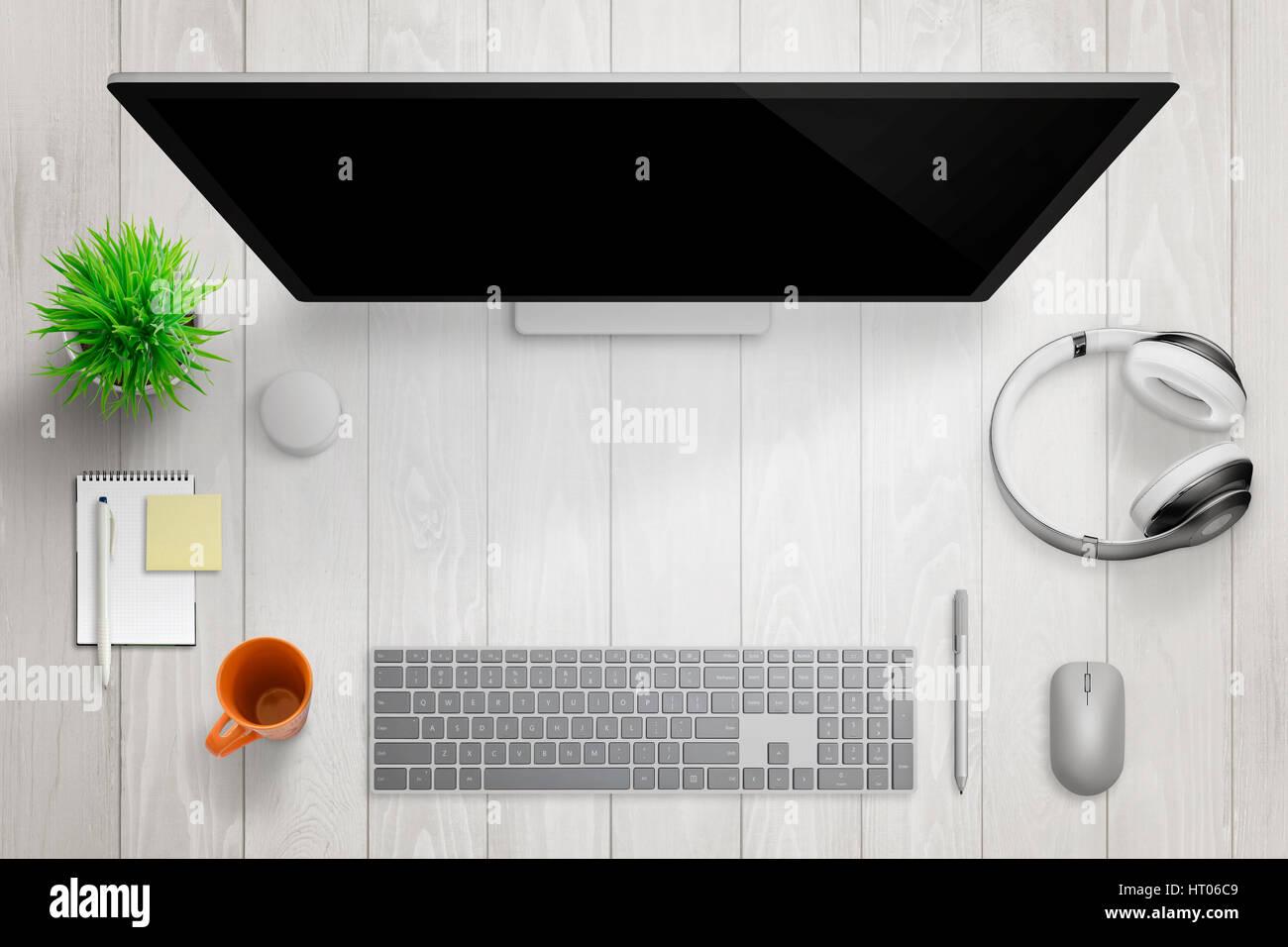 White bureau moderne avec affichage de l ordinateur espace libre