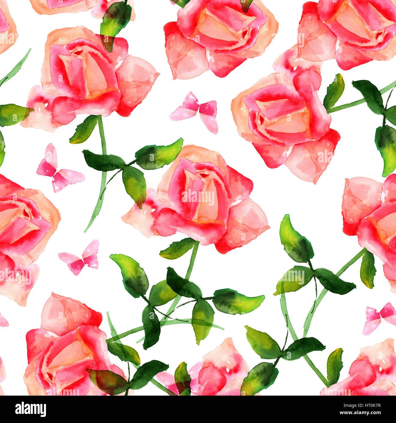 Un Modele Sans Couture Avec Une Aquarelle Dessin D Une Rose Rouge En