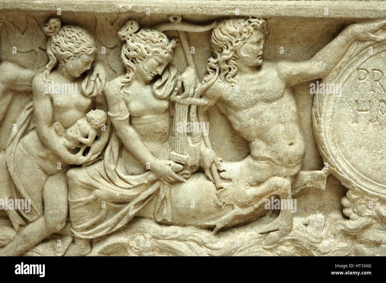 Soulagement d'un sarcophage représentant un centaure. Culture: Roman. Ligne de crédit: Photo Stock