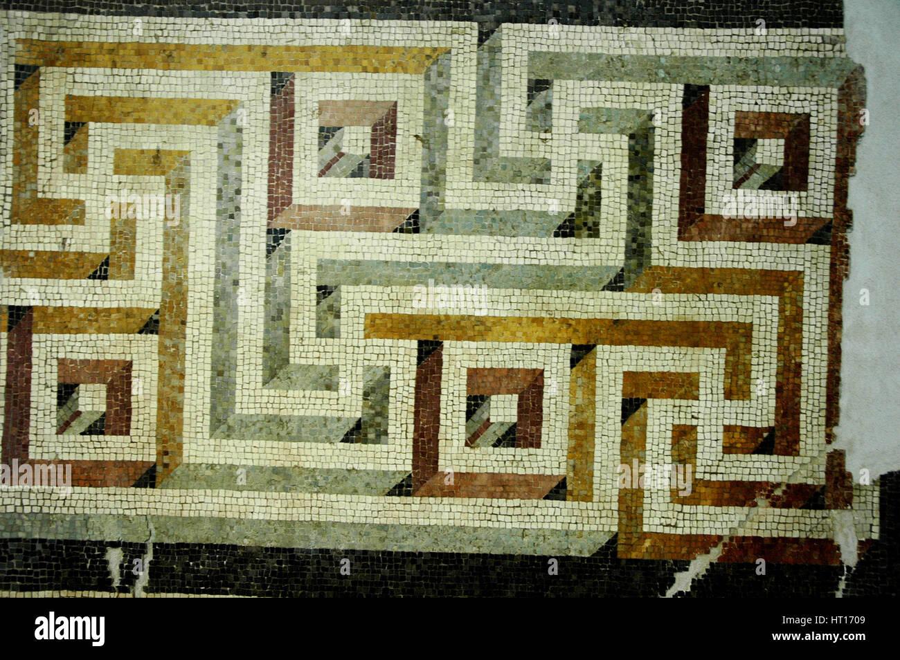Sol en mosaïque géométrique. Culture: Roman. Lieu d'origine: Rome. Ligne de crédit: Photo Stock