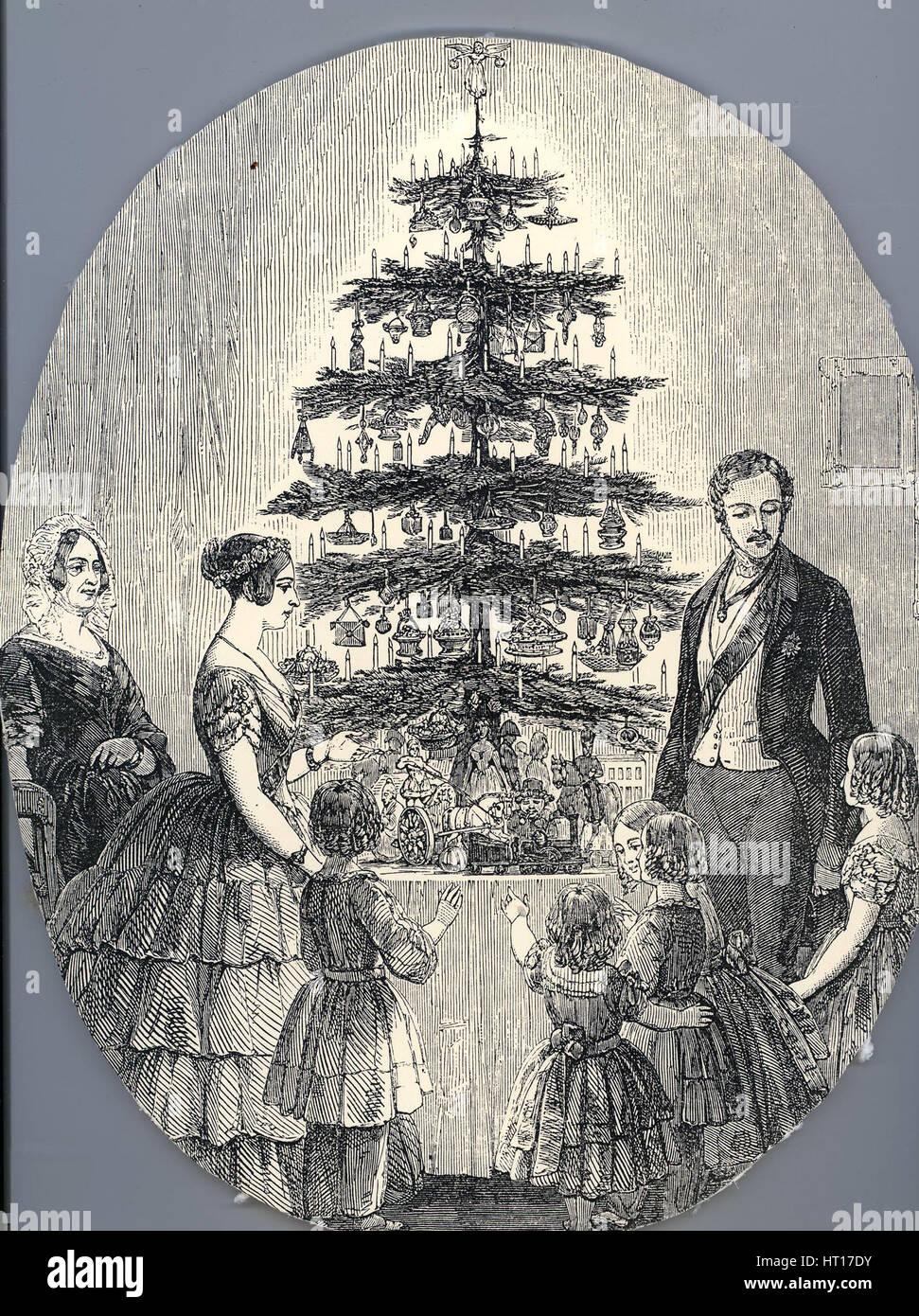 Noël avec la reine Victoria, le Prince Albert, de leurs enfants et la mère de la reine Victoria, en 1848 Photo Stock