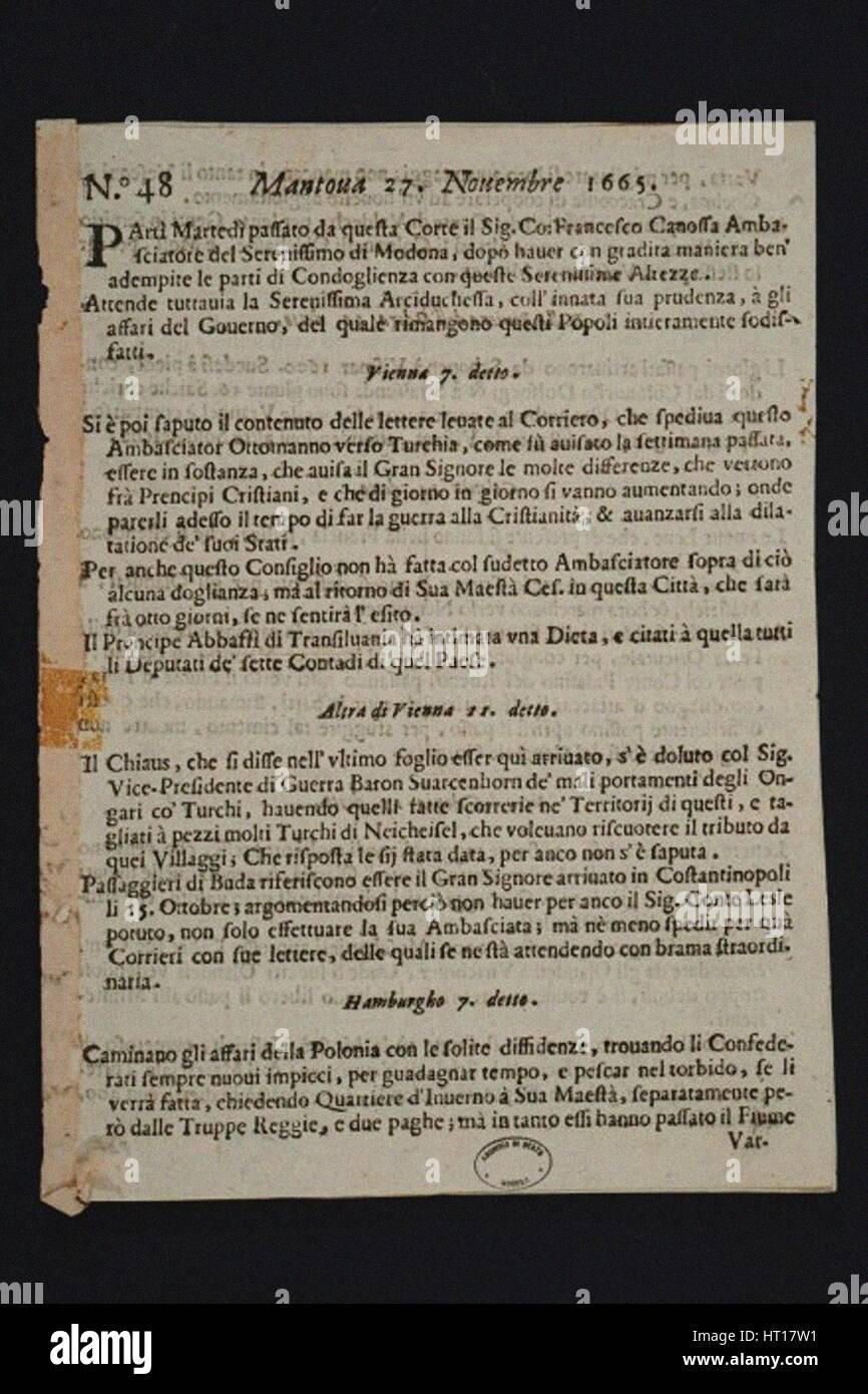 La Gazzetta di Mantova - plus ancien journal italien, 1665. Artiste: objet Historique Photo Stock
