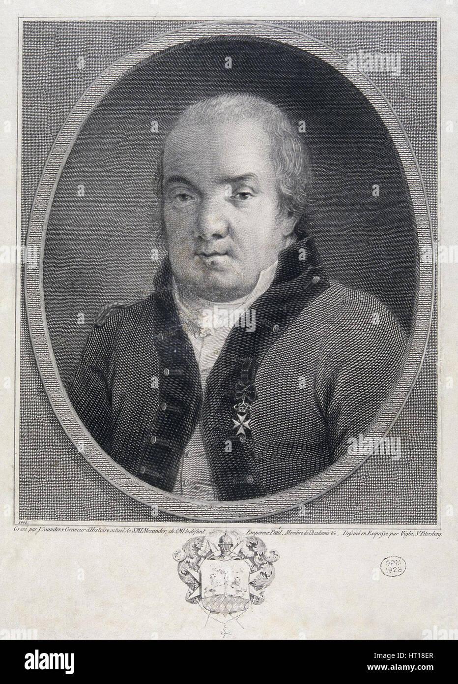 Portrait de l'architecte Giacomo Quarenghi (1744-1817), fin du 18e 100.. Artiste: Saunders, Joseph (actif Photo Stock