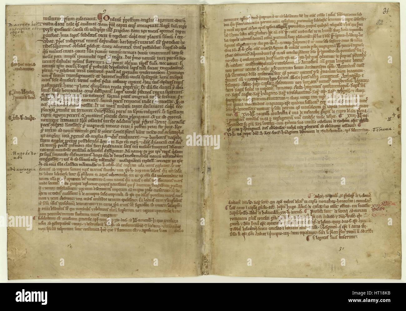 Verset compte de Magna Carta dans la chronique l'abbaye de Melrose, 1270s. Artiste: Document Historique Photo Stock