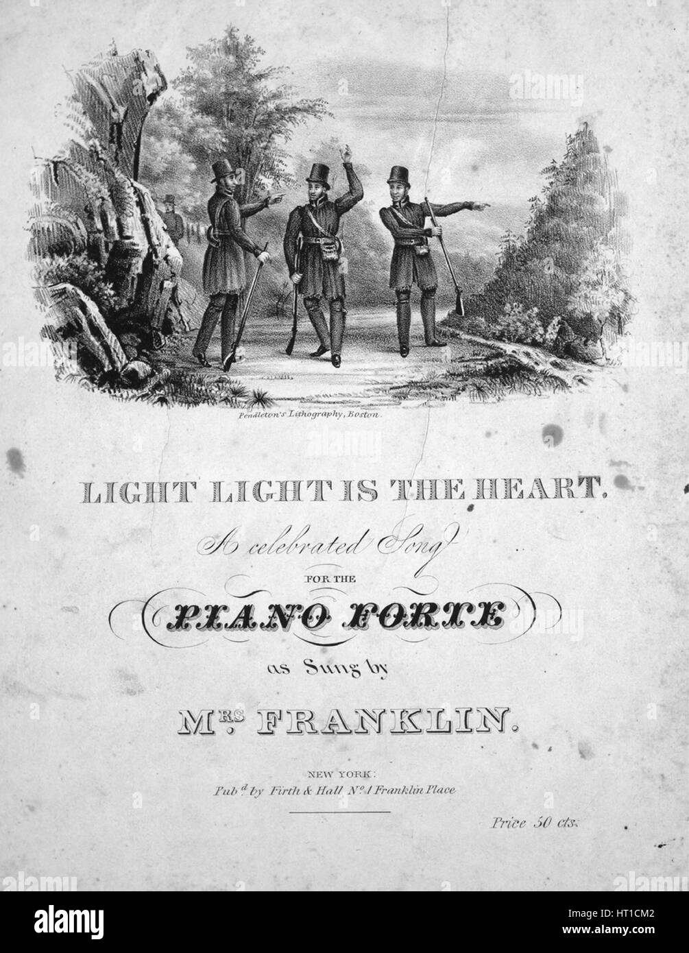 """Sheet Music image de couverture de la chanson 'Light Light est le coeur d'un célèbre morceau pour le Piano Forte"""", avec une œuvre originale lecture notes 'na', United States, 1834. L'éditeur est répertorié comme 'Firth et Hall, NO1-Franklin', la forme de composition est 'strophique (musique varie légèrement à chaque verset)', l'instrumentation est 'piano et voix"""", la première ligne se lit """"Light light est le coeur qu'avec la liberté, peuvent aller o'er la montagne de façon courageuse et libre', et l'illustration artiste est répertorié comme """"Pendleton, lithographie de Boston'. Banque D'Images"""