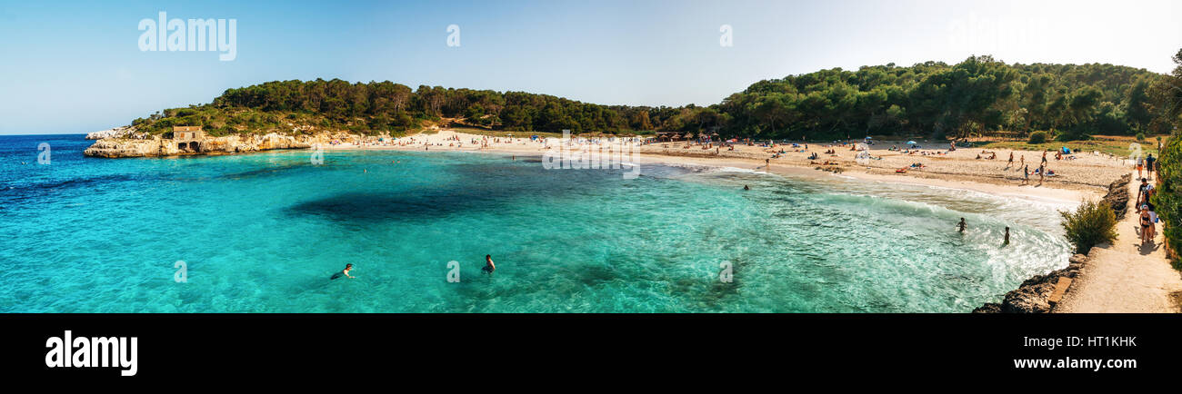 Vue panoramique sur sAmarador beach dans le Parc Naturel de Cala Mondrago de Majorque, Îles Baléares, Photo Stock