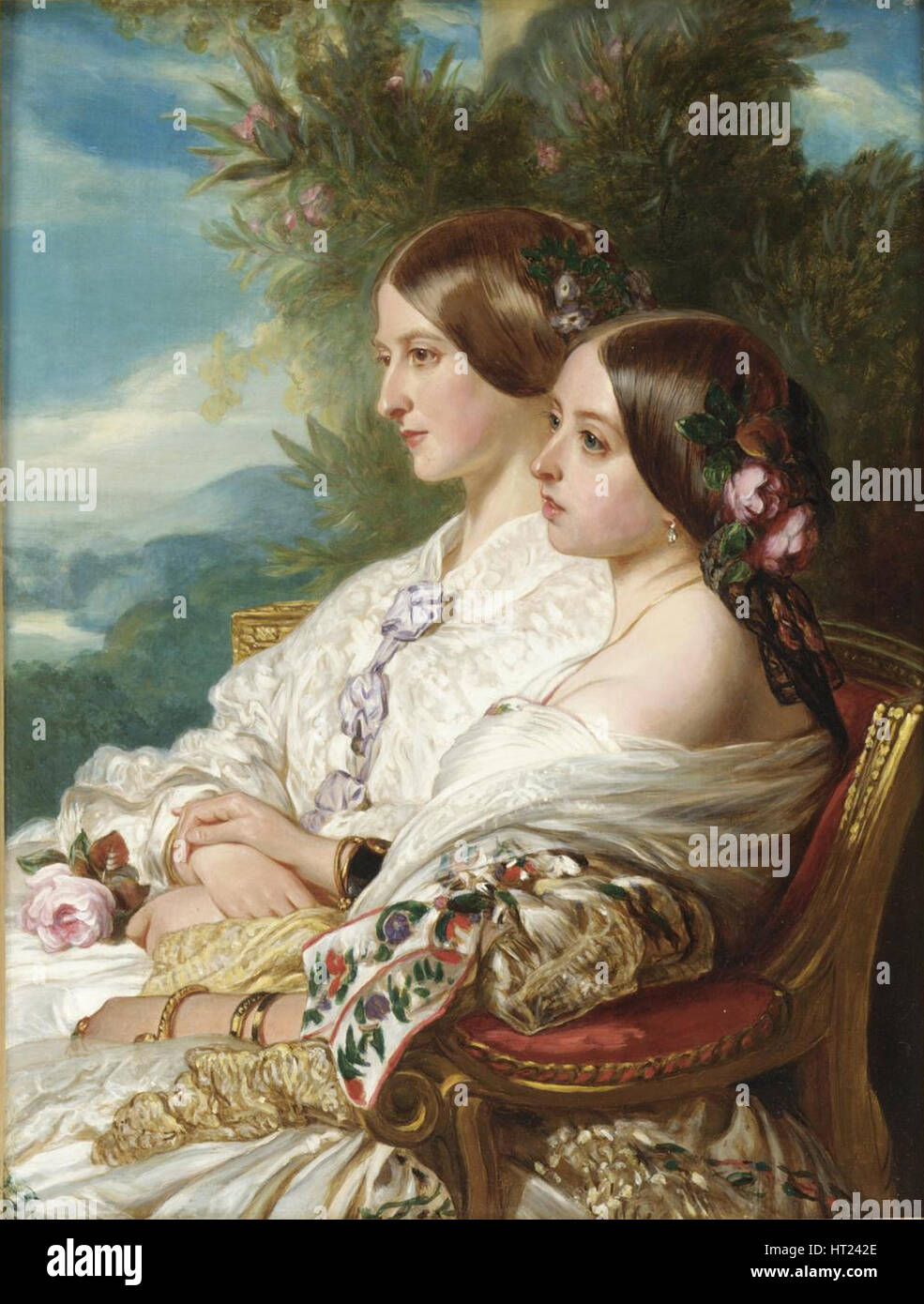 La reine Victoria et de sa cousine, la Duchesse de Nemours, 1852. Artiste: Winterhalter, Franz Xavier (1805 Photo Stock