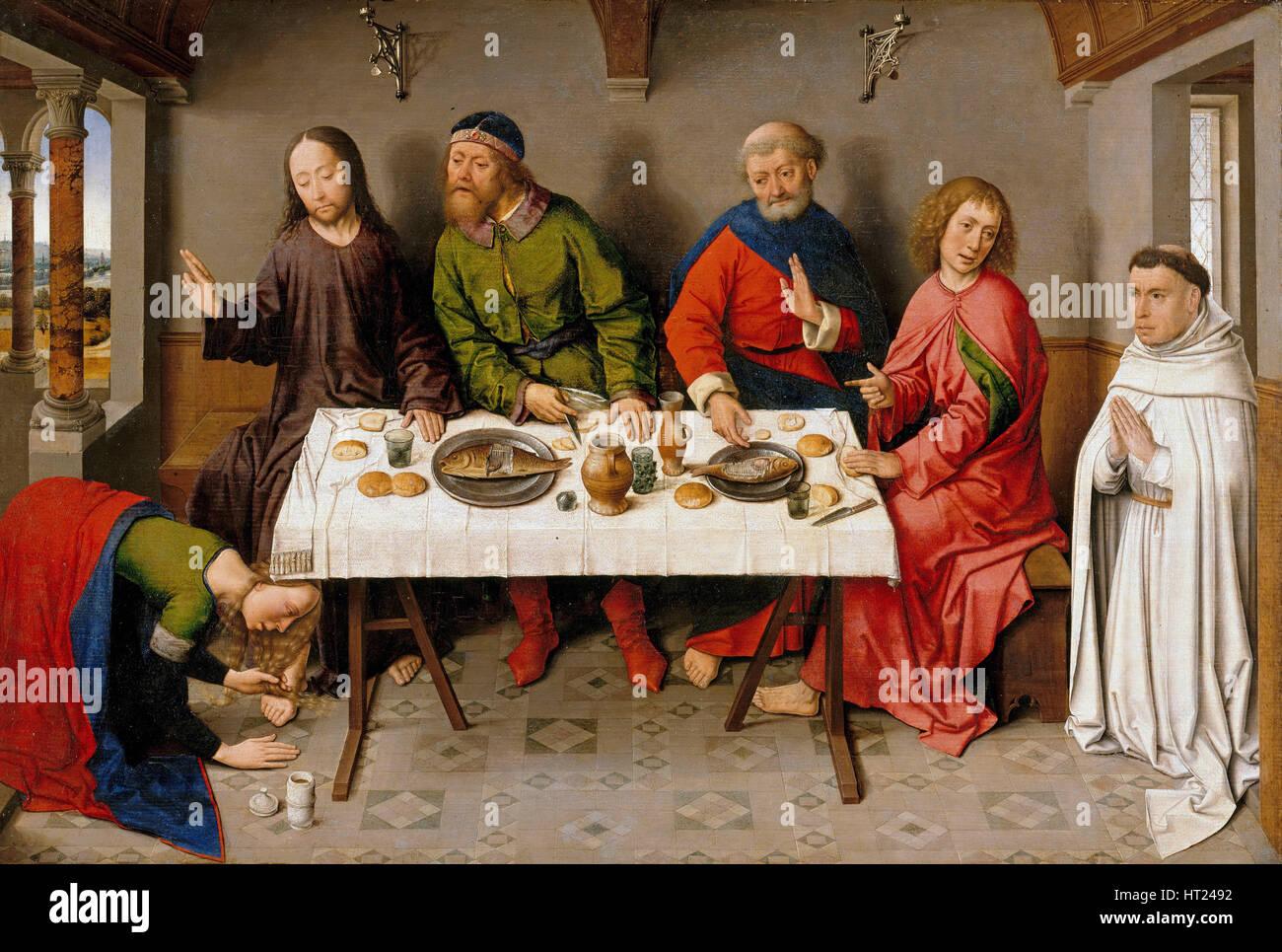Le Christ dans la maison de Simon le pharisien, ch. 1450. Artiste: Combats, Dirk (1410/20-1475) Photo Stock