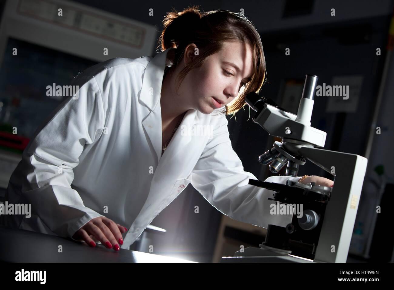 Un jeune élève lors d'une leçon de science dans une école secondaire Photo Stock