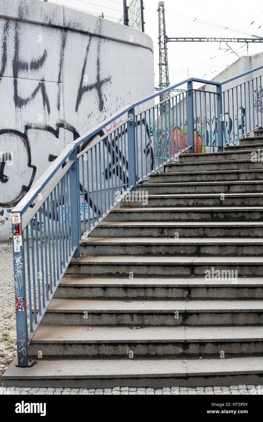Escalier, Carrefour, graffiti U Bulhara, Prague Photo Stock