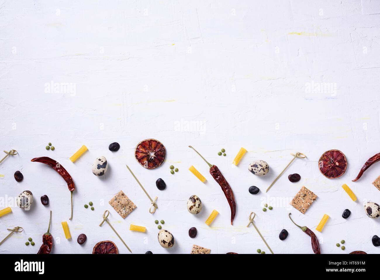 La maquette de l'alimentation, menu châssis ingrédients de cuisine. Contexte du marché de la gastronomie. Mise à Banque D'Images