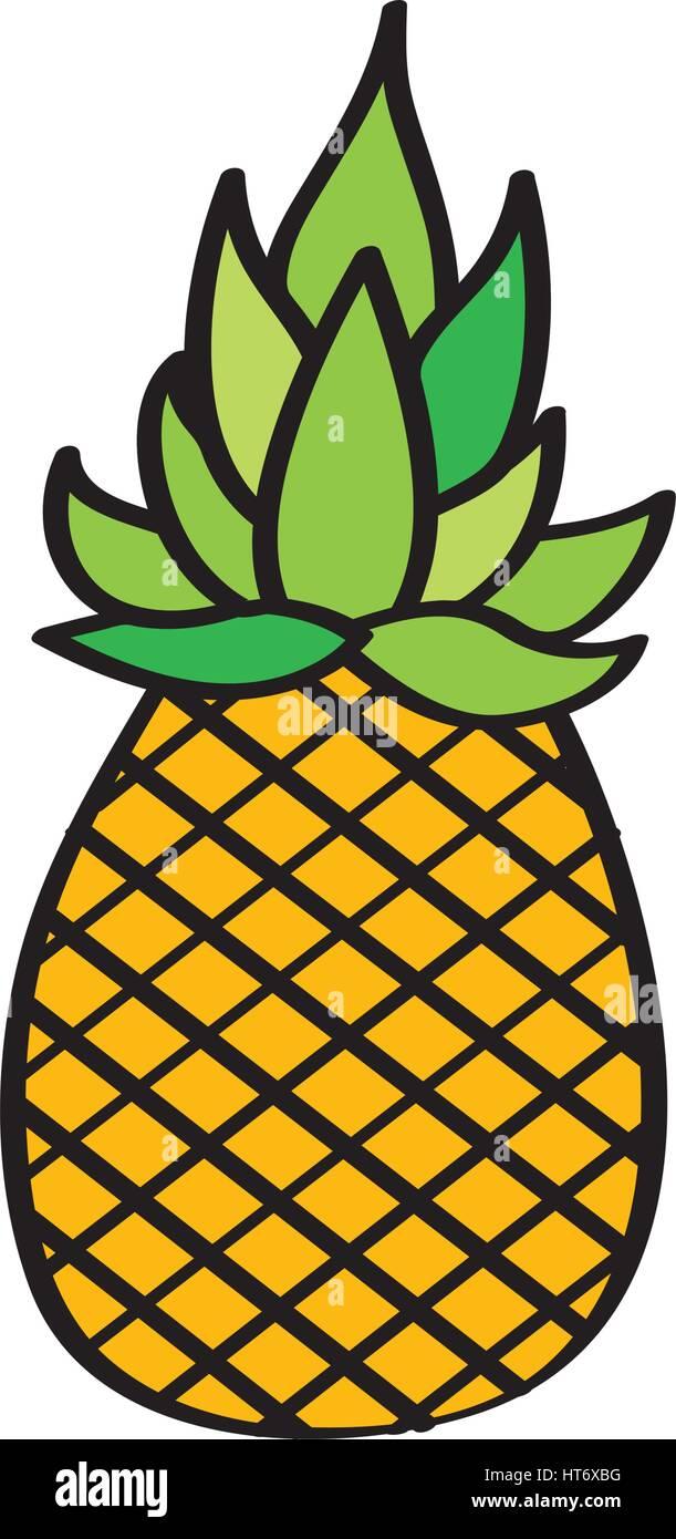 Licône Dessin De Fruits Frais Ananas Vecteurs Et