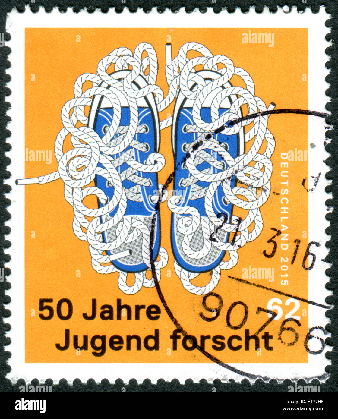 """Allemagne - circa 2015: timbre imprimé en Allemagne, au 50e anniversaire de la compétition """"Jeunes Photo Stock"""