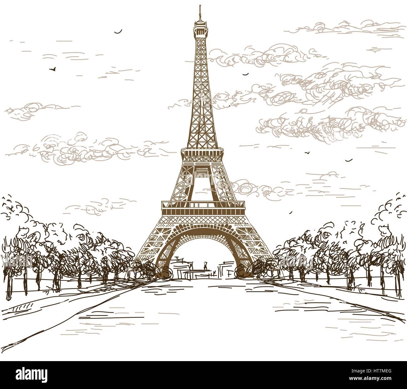 Paysage Avec La Tour Eiffel En Noir Et Blanc Sur Fond Gris Vector