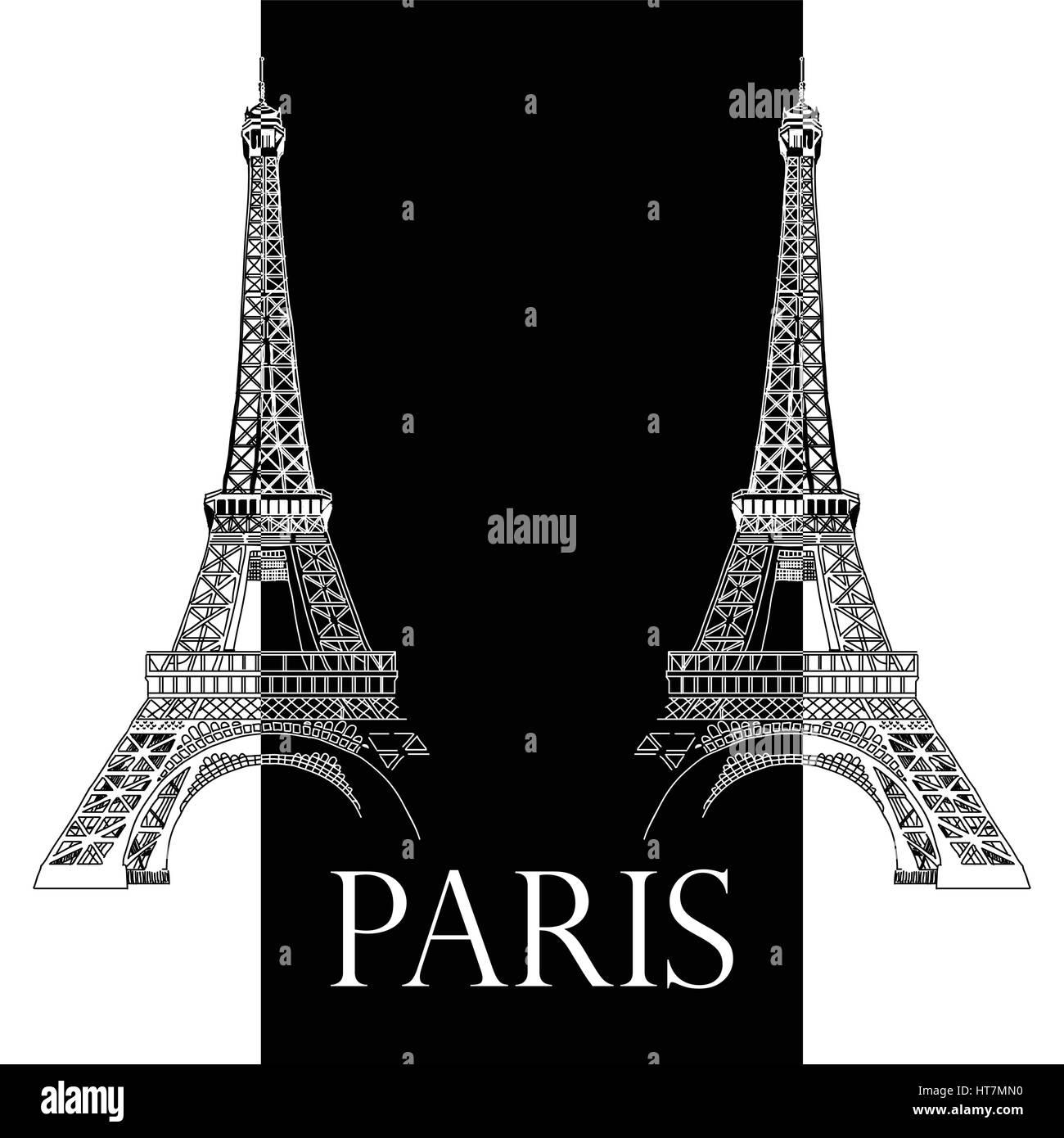 Vector Illustration Dessin A La Main Avec Deux Tours Eiffel Noir Et
