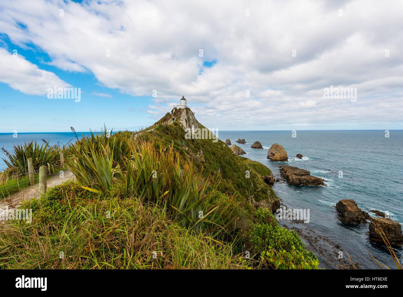 Phare de Catlins, Nugget Point, Southland, Nouvelle-Zélande Photo Stock