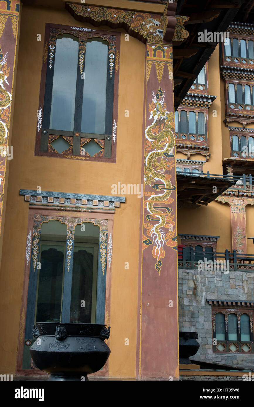 Le Bhoutan, Thimphu, capitale du Bhoutan. Hôtel de luxe cinq étoiles Hôtel Taj Tashi, détail Photo Stock