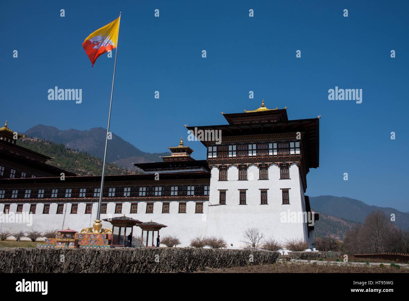 Le Bhoutan, Thimphu. Tashichhoedzong (aka Tashichho Dzong) monastère bouddhiste historique et de la forteresse Photo Stock