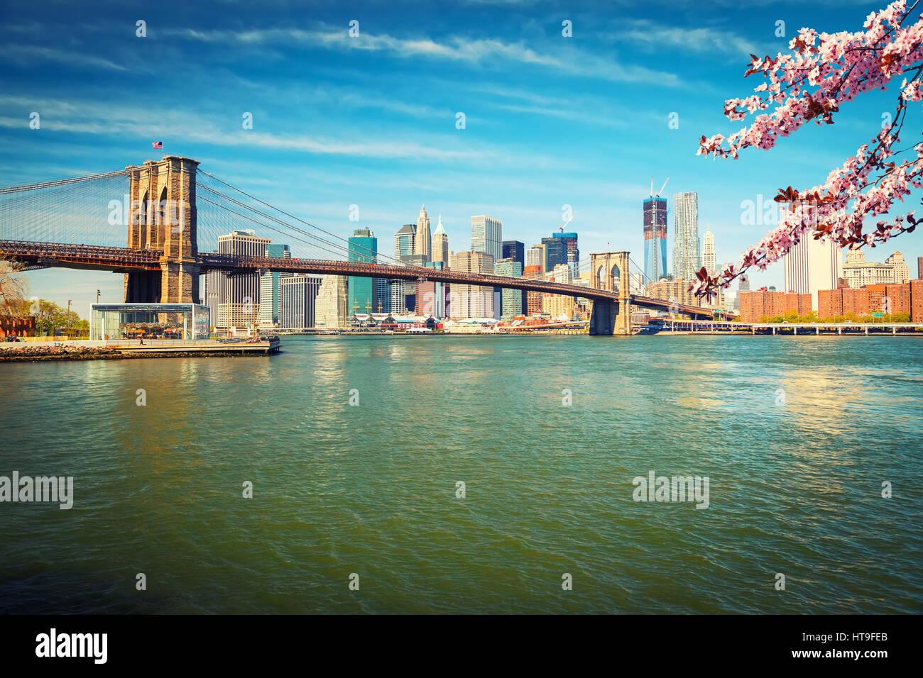 Pont de Brooklyn et Manhattan au printemps, New York City Photo Stock
