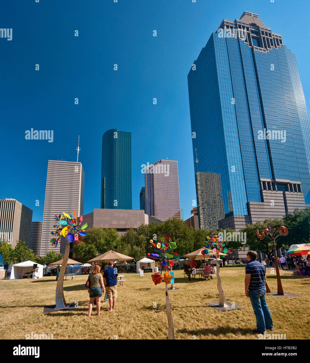 Marché de l'art au Sam Houston Park au cours de Bayou City Art Festival, du centre-ville, Houston, Texas, Photo Stock