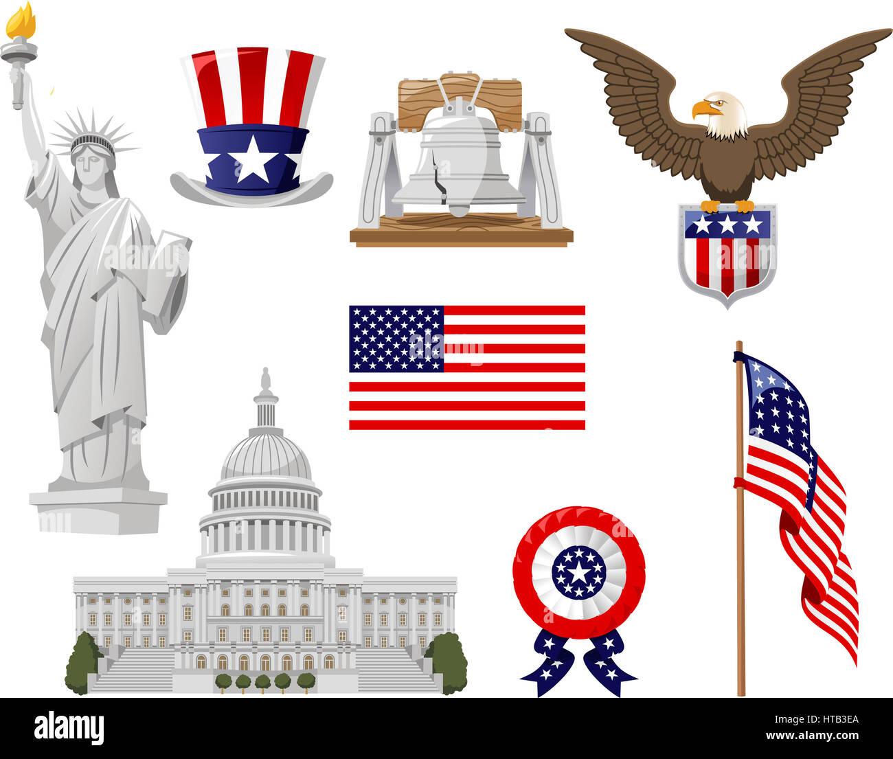 La culture américaine vector illustration icônes, telles que top hat, Bell, la statue de la liberté, a signalé pays, drapeau, collection de la maison blanche. Banque D'Images