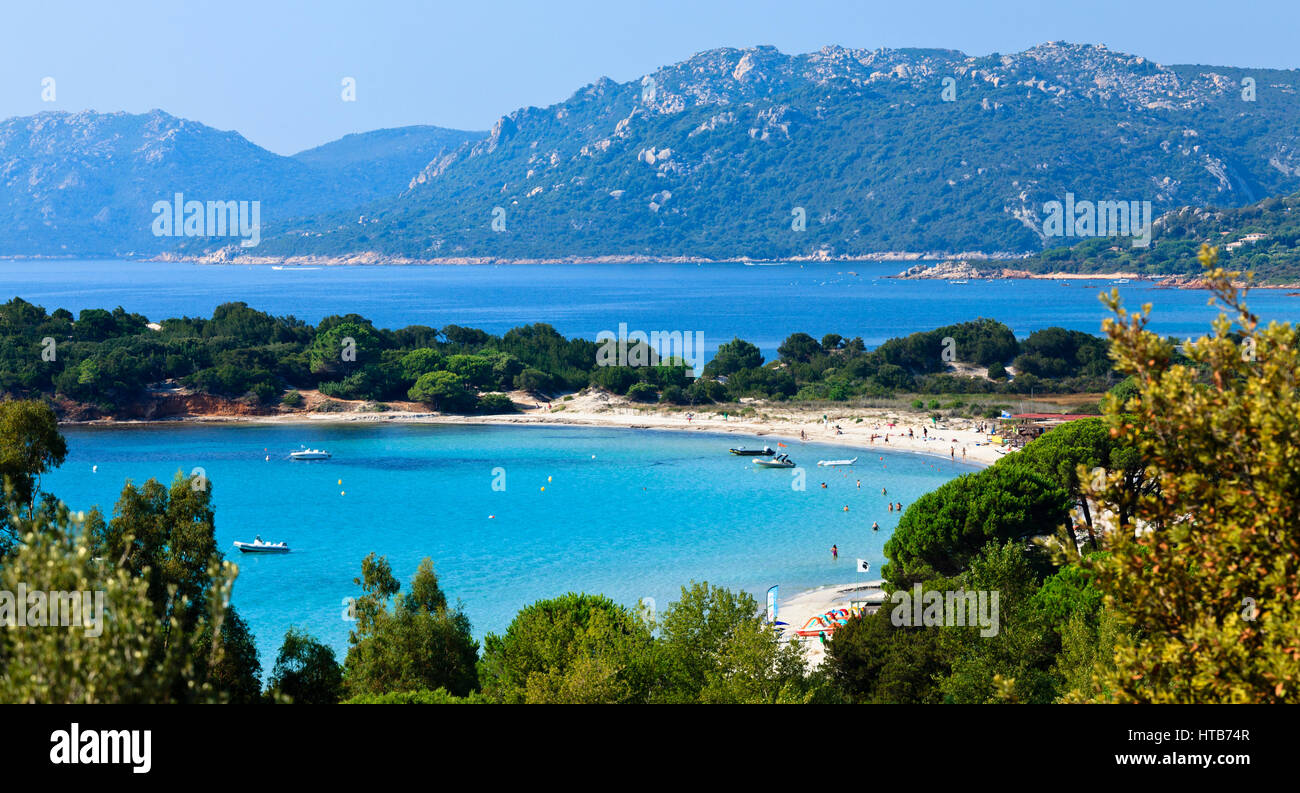 La plage de Palombaggia, Porto Vecchio, Corse, France Photo Stock