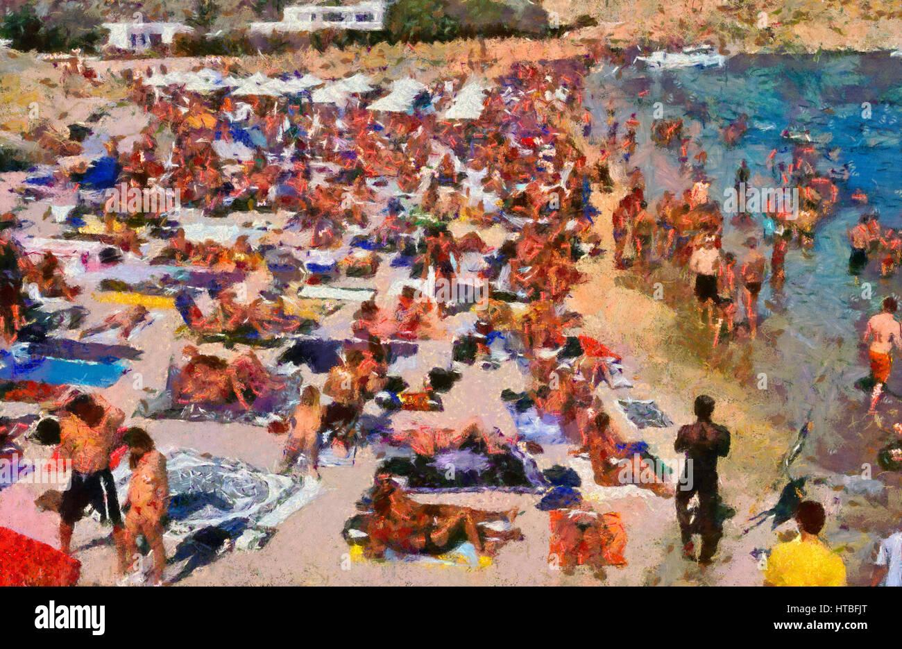 Super Paradise beach à l'île de Mykonos, Grèce Photo Stock