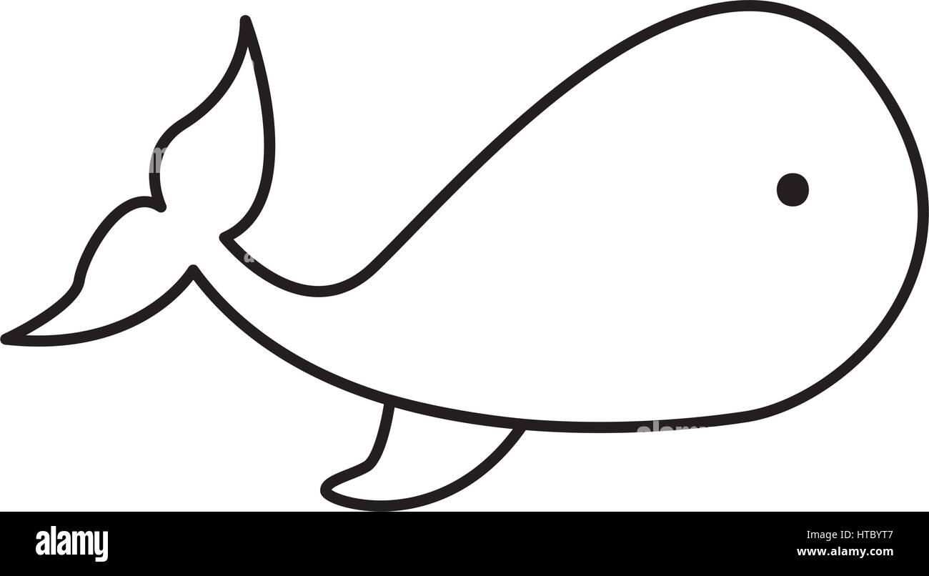 Contour dessin animal baleine ic ne marine vector - Dessin contour ...