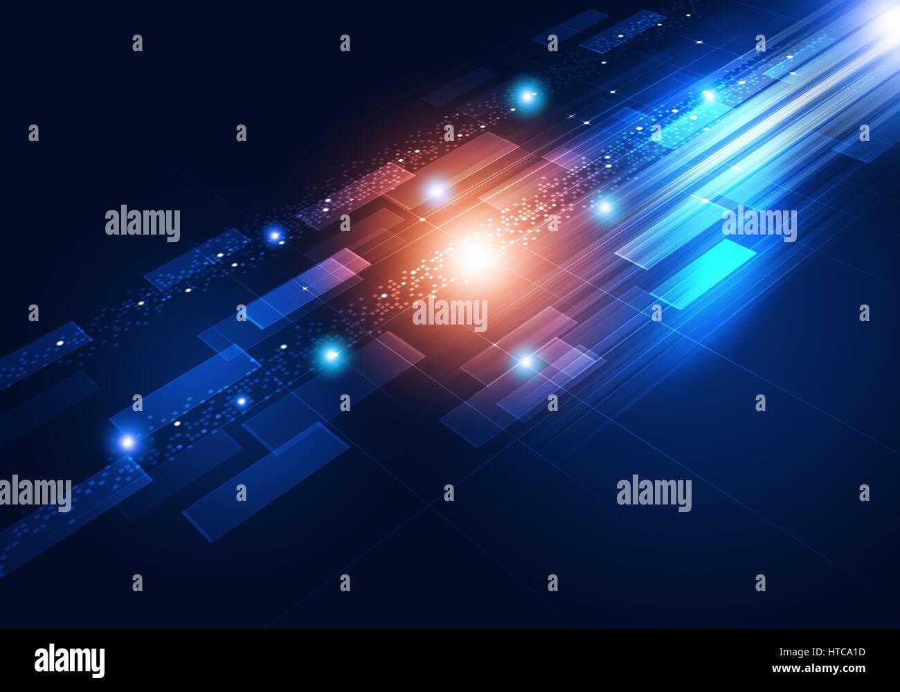 La technologie de mouvement abstrait arrière-plan connexion concept bleu Photo Stock