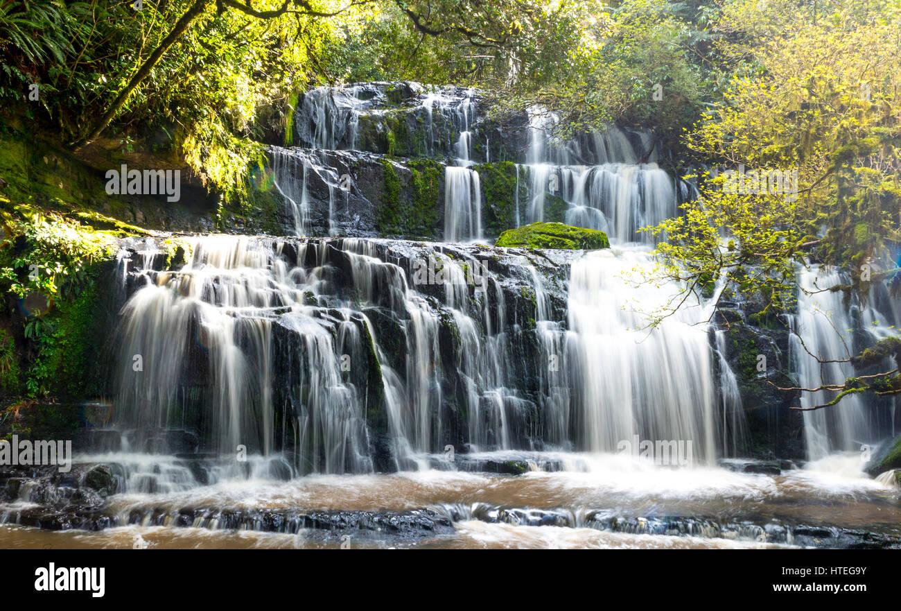 Purakaunui Falls, une cascade, l'Otago, Catlins, Southland, Nouvelle-Zélande Banque D'Images